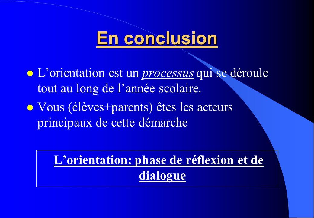 En conclusion Lorientation est un processus qui se déroule tout au long de lannée scolaire. Vous (élèves+parents) êtes les acteurs principaux de cette