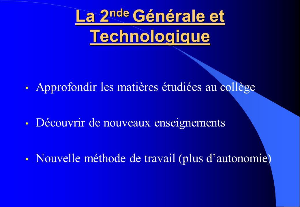 La 2 nde Générale et Technologique Approfondir les matières étudiées au collège Découvrir de nouveaux enseignements Nouvelle méthode de travail (plus