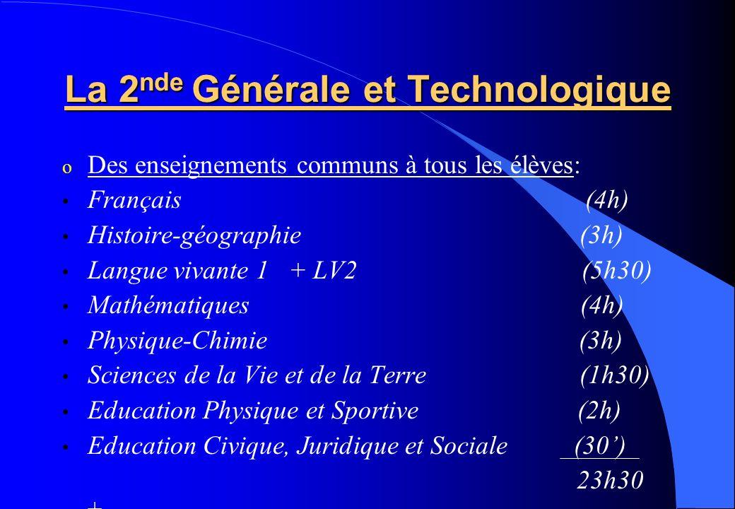 La 2 nde Générale et Technologique o Des enseignements communs à tous les élèves: Français (4h) Histoire-géographie (3h) Langue vivante 1 + LV2 (5h30)