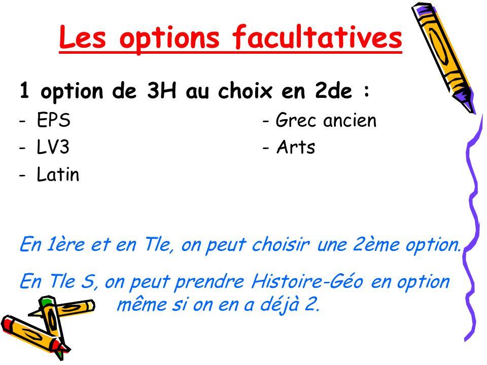 Les options facultatives 1 option de 3H au choix en 2de : -EPS- Grec ancien -LV3- Arts -Latin En 1ère et en Tle, on peut choisir une 2ème option. En T