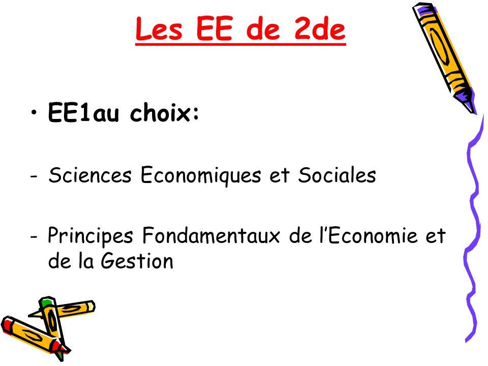 Les EE de 2de EE1au choix: -Sciences Economiques et Sociales -Principes Fondamentaux de lEconomie et de la Gestion