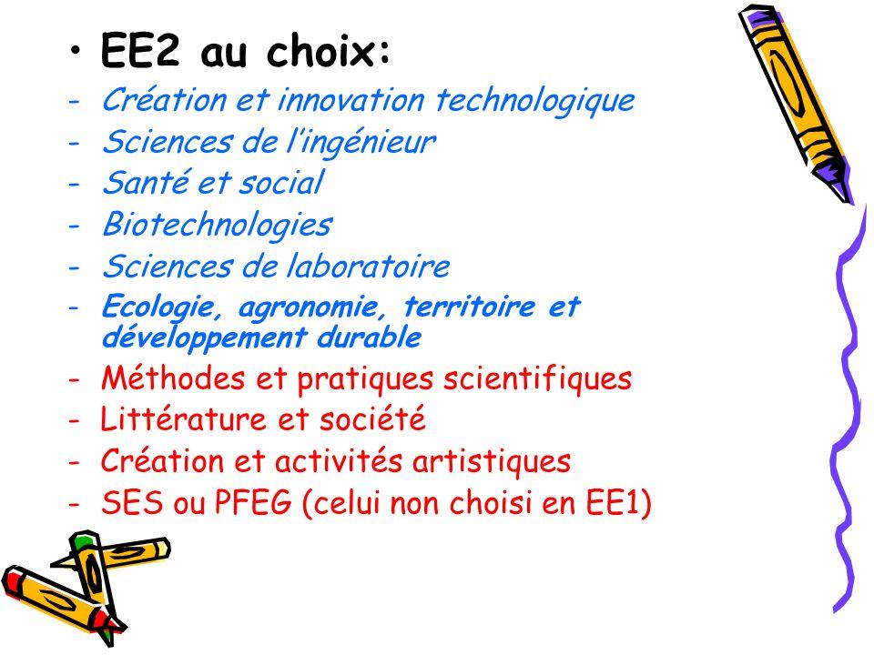 EE2 au choix: -Création et innovation technologique -Sciences de lingénieur -Santé et social -Biotechnologies -Sciences de laboratoire -Ecologie, agro