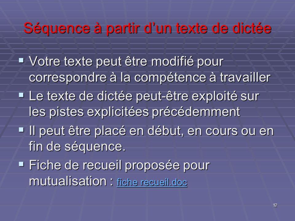 Séquence à partir dun texte de dictée Votre texte peut être modifié pour correspondre à la compétence à travailler Votre texte peut être modifié pour