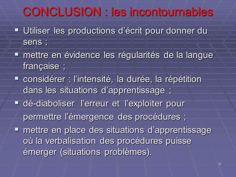 CONCLUSION : les incontournables CONCLUSION : les incontournables Utiliser les productions décrit pour donner du sens ; Utiliser les productions décri