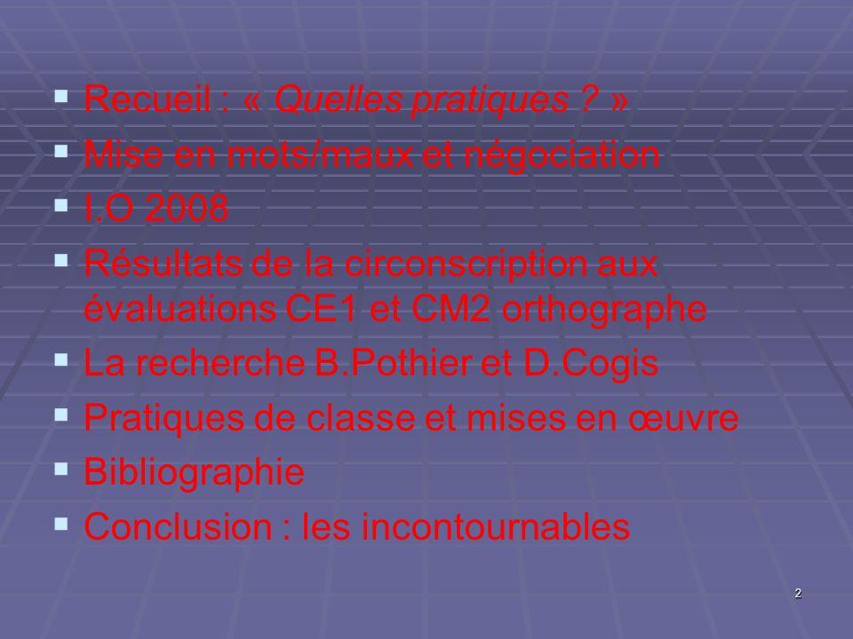 Recueil : « Quelles pratiques ? » Mise en mots/maux et négociation I.O 2008 Résultats de la circonscription aux évaluations CE1 et CM2 orthographe La