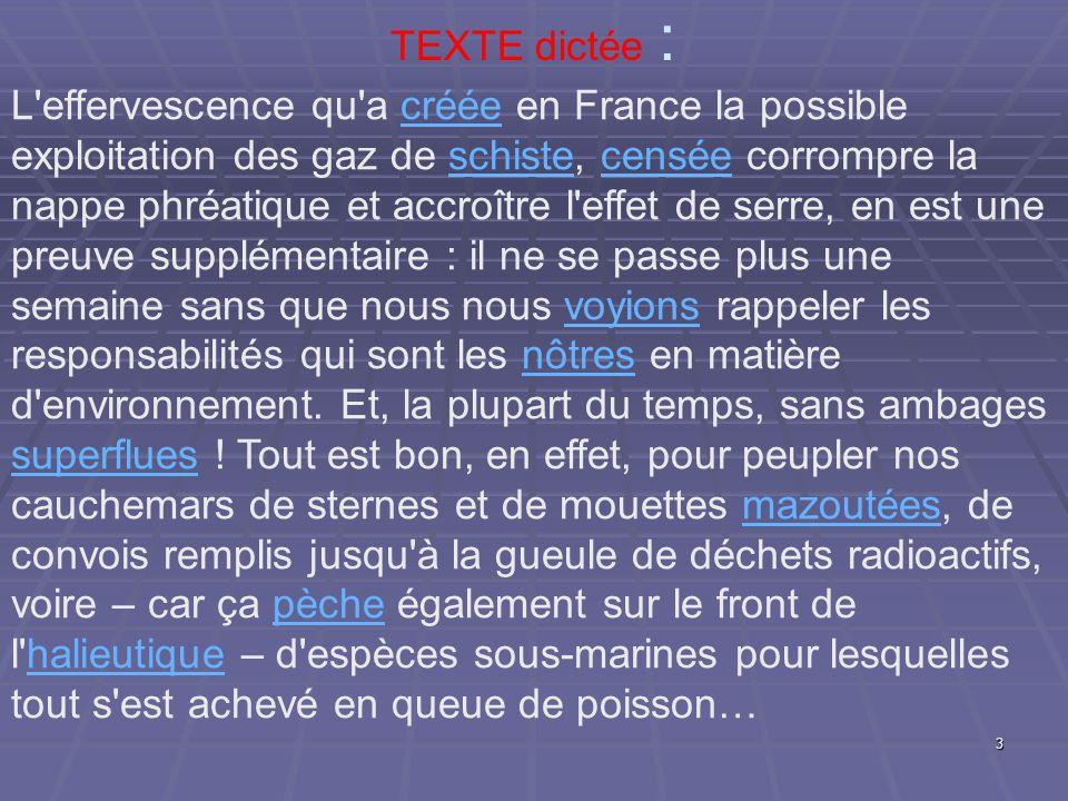 TEXTE dictée : L'effervescence qu'a créée en France la possible exploitation des gaz de schiste, censée corrompre la nappe phréatique et accroître l'e