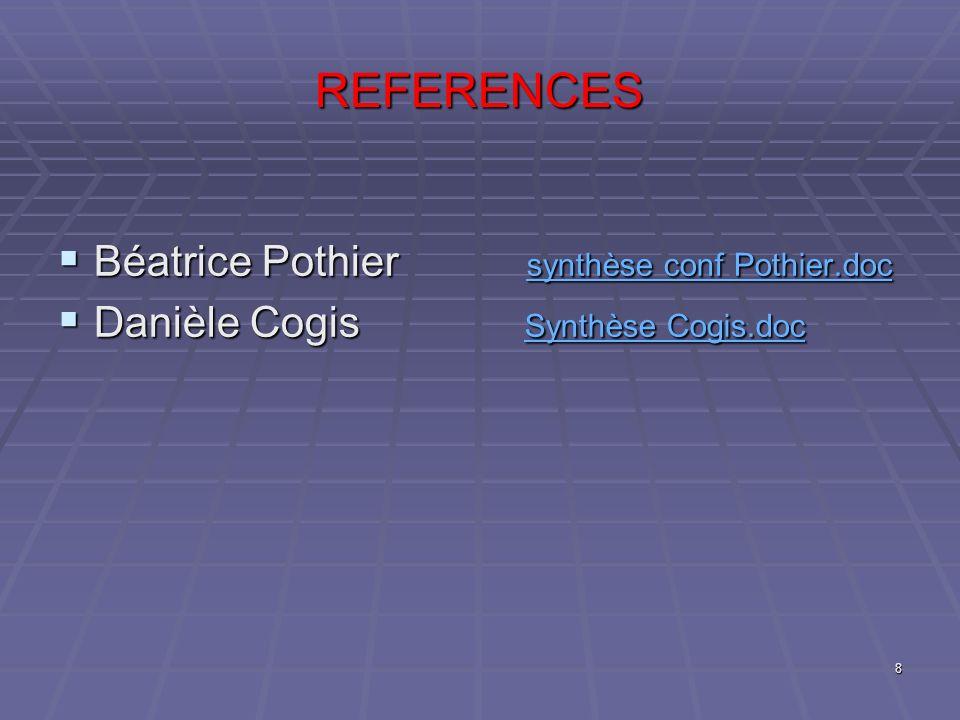 REFERENCES Béatrice Pothier synthèse conf Pothier.doc Béatrice Pothier synthèse conf Pothier.doc synthèse conf Pothier.doc synthèse conf Pothier.doc D