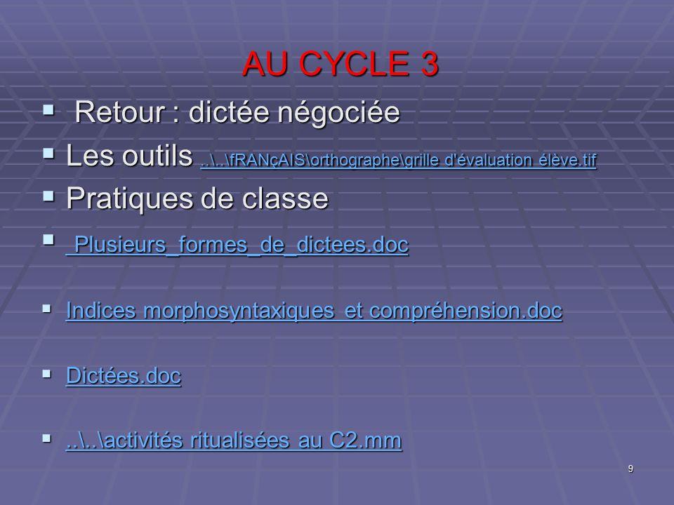 AU CYCLE 3 AU CYCLE 3 Retour : dictée négociée Retour : dictée négociée Les outils..\..\fRANçAIS\orthographe\grille d'évaluation élève.tif Les outils.