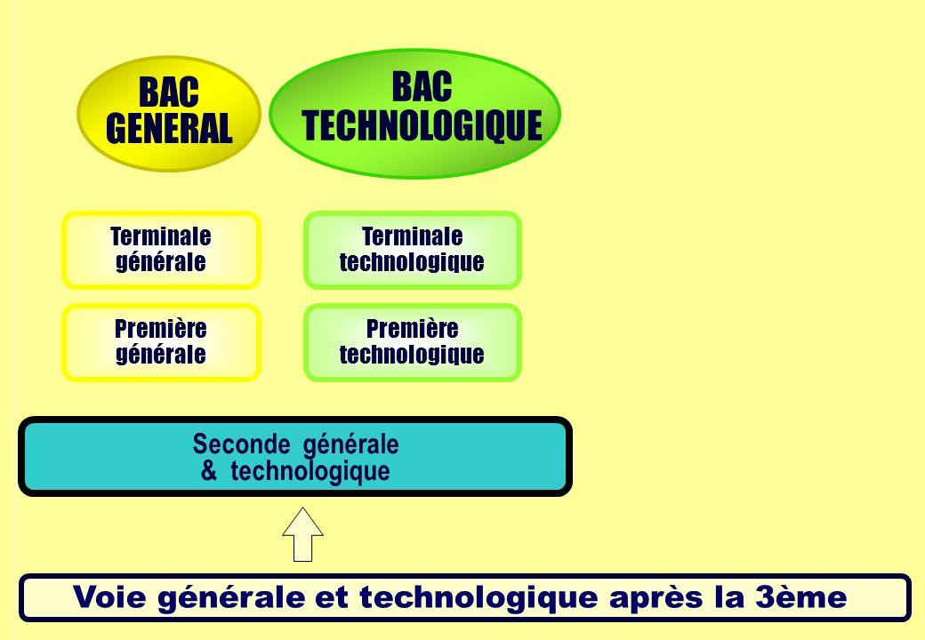 Voie générale et technologique après la 3ème Première générale Première technologique Terminale générale Terminale technologique Seconde générale & technologique BAC GENERAL BAC TECHNOLOGIQUE
