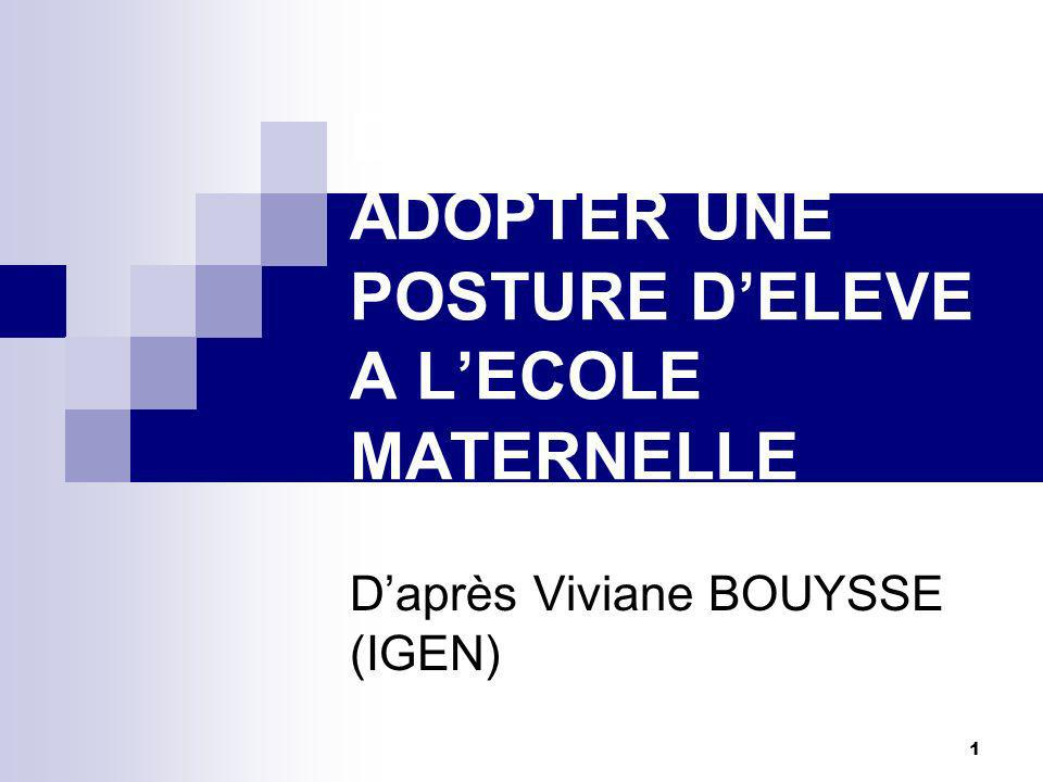 1 DEVENIR ELEVE ADOPTER UNE POSTURE DELEVE A LECOLE MATERNELLE Daprès Viviane BOUYSSE (IGEN)