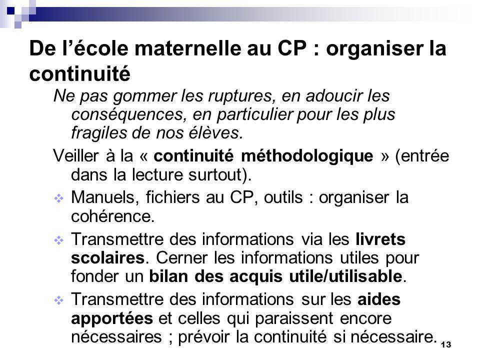 13 De lécole maternelle au CP : organiser la continuité Ne pas gommer les ruptures, en adoucir les conséquences, en particulier pour les plus fragiles de nos élèves.