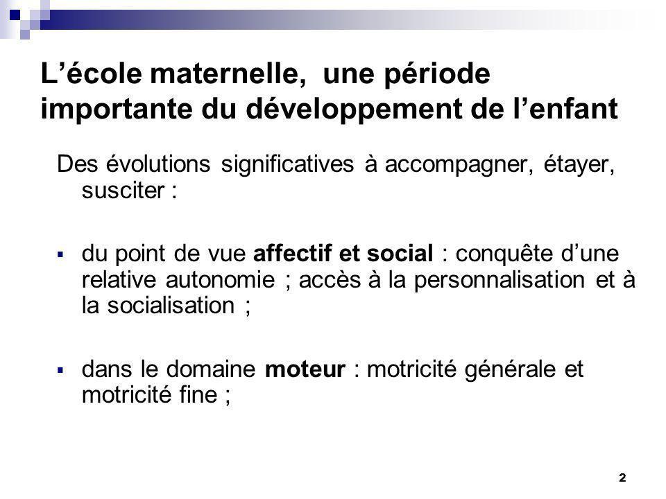 2 Des évolutions significatives à accompagner, étayer, susciter : du point de vue affectif et social : conquête dune relative autonomie ; accès à la p