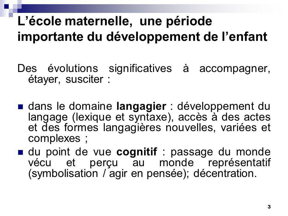 3 Des évolutions significatives à accompagner, étayer, susciter : dans le domaine langagier : développement du langage (lexique et syntaxe), accès à d