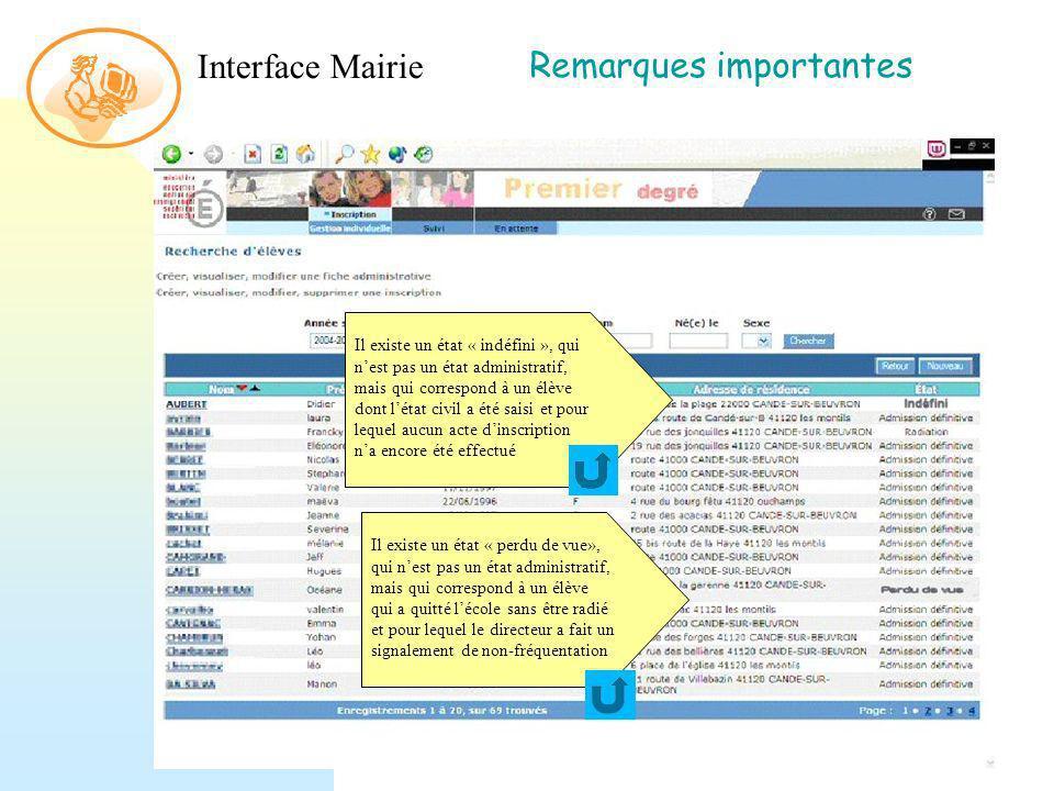 Interface Mairie Remarques importantes Il existe un état « perdu de vue», qui nest pas un état administratif, mais qui correspond à un élève qui a qui