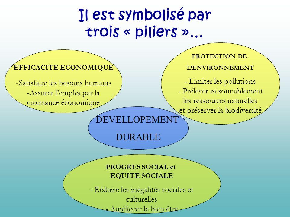 Il est symbolisé par trois « piliers »… DEVELLOPEMENT DURABLE PROTECTION DE LENVIRONNEMENT - Limiter les pollutions - Prélever raisonnablement les res