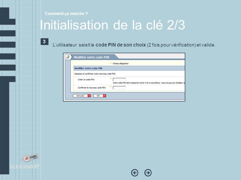 Comment ça marche ? Initialisation de la clé 2/3 3 Lutilisateur saisit le code PIN de son choix (2 fois pour vérification) et valide.