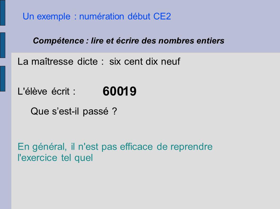 Un exemple : numération début CE2 Compétence : lire et écrire des nombres entiers La maîtresse dicte : six cent dix neuf L'élève écrit : 600 En généra