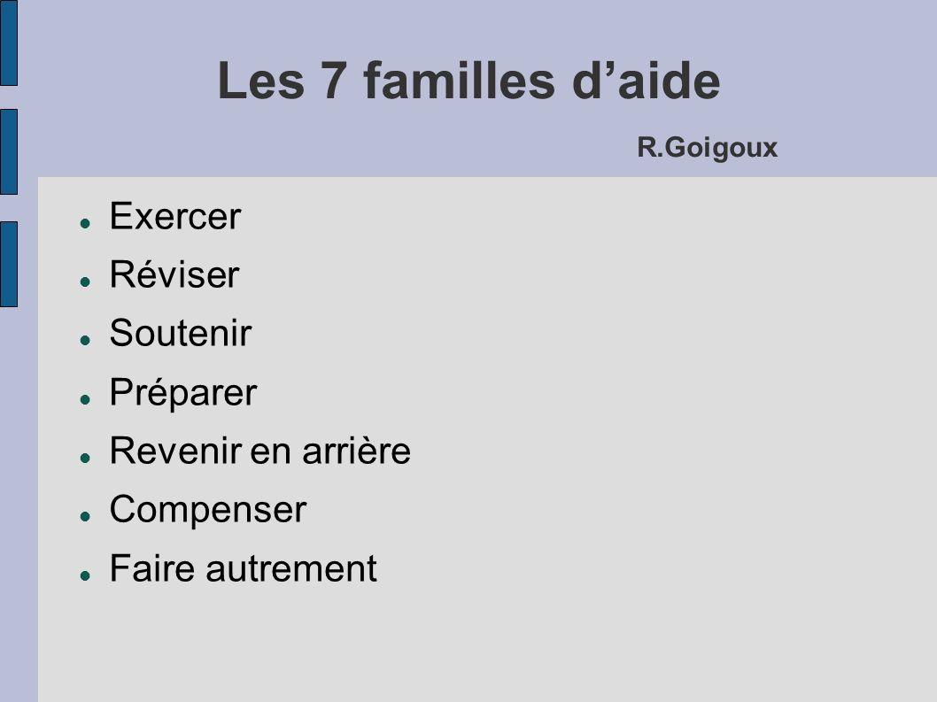 Les 7 familles daide R.Goigoux Exercer Réviser Soutenir Préparer Revenir en arrière Compenser Faire autrement