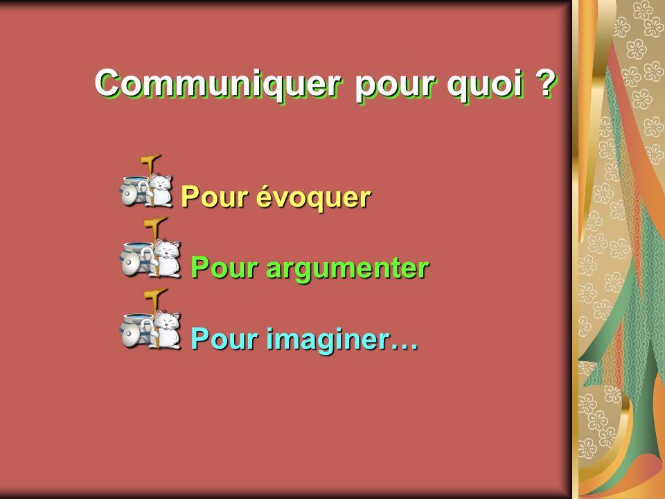 Communiquer pour quoi ? Pour évoquer Pour évoquer Pour argumenter Pour argumenter Pour imaginer… Pour imaginer…