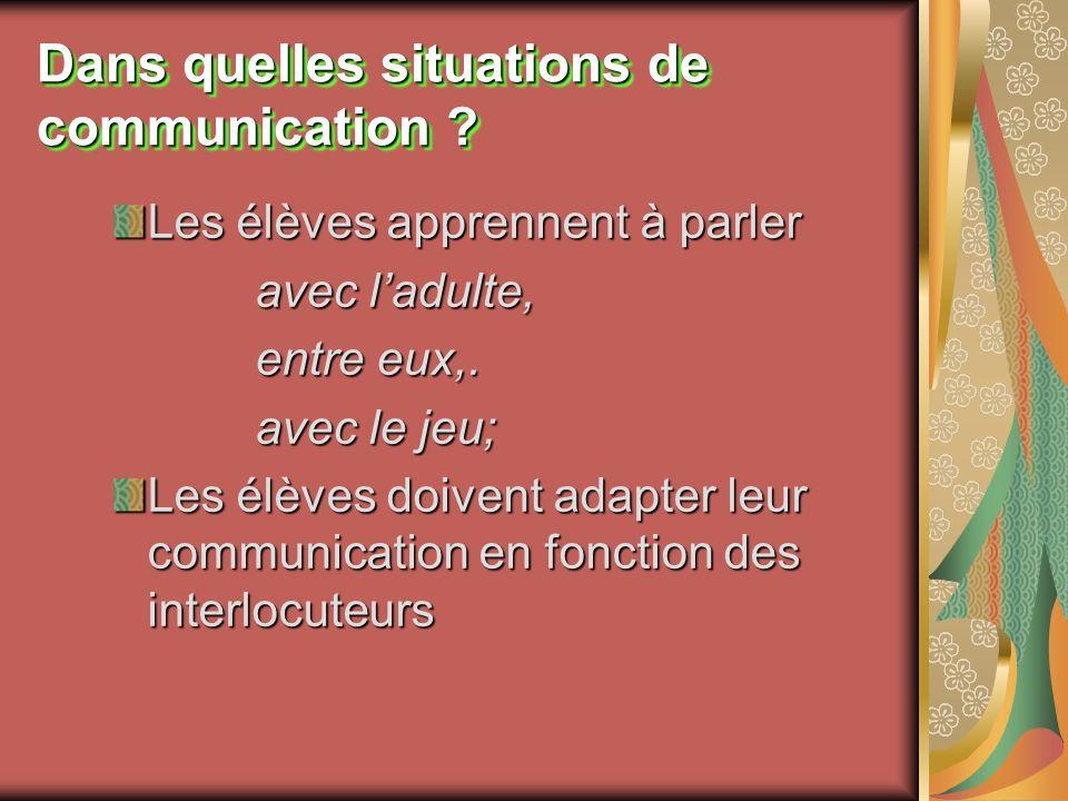 Dans quelles situations de communication ? Les élèves apprennent à parler avec ladulte, entre eux,. avec le jeu; Les élèves doivent adapter leur commu