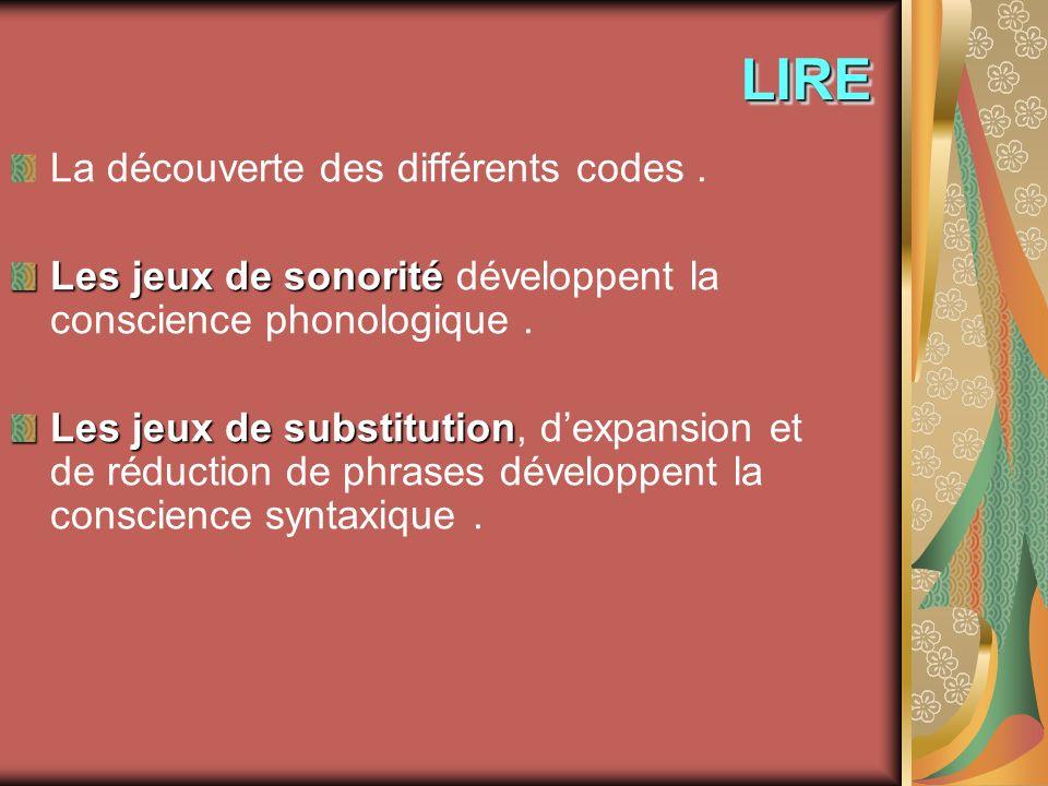 LIRELIRE La découverte des différents codes. Les jeux de sonorité Les jeux de sonorité développent la conscience phonologique. Les jeux de substitutio