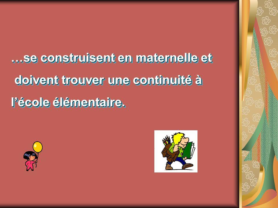 …se construisent en maternelle et doivent trouver une continuité à doivent trouver une continuité à lécole élémentaire. …se construisent en maternelle