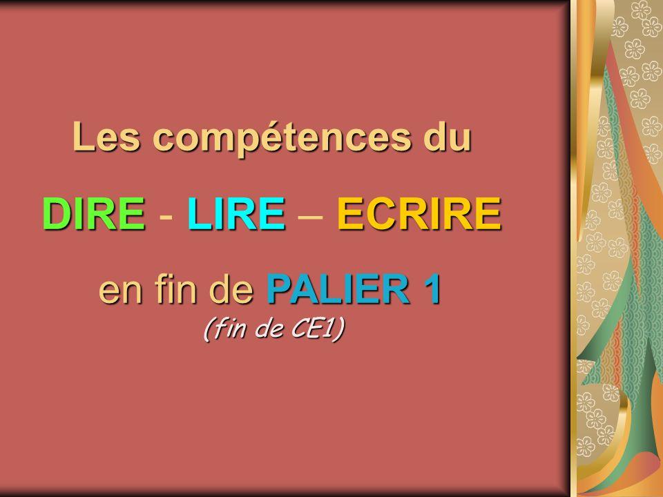 Les compétences du DIRELIRE ECRIRE DIRE - LIRE – ECRIRE en fin dePALIER 1 (fin de CE1) en fin de PALIER 1 (fin de CE1)