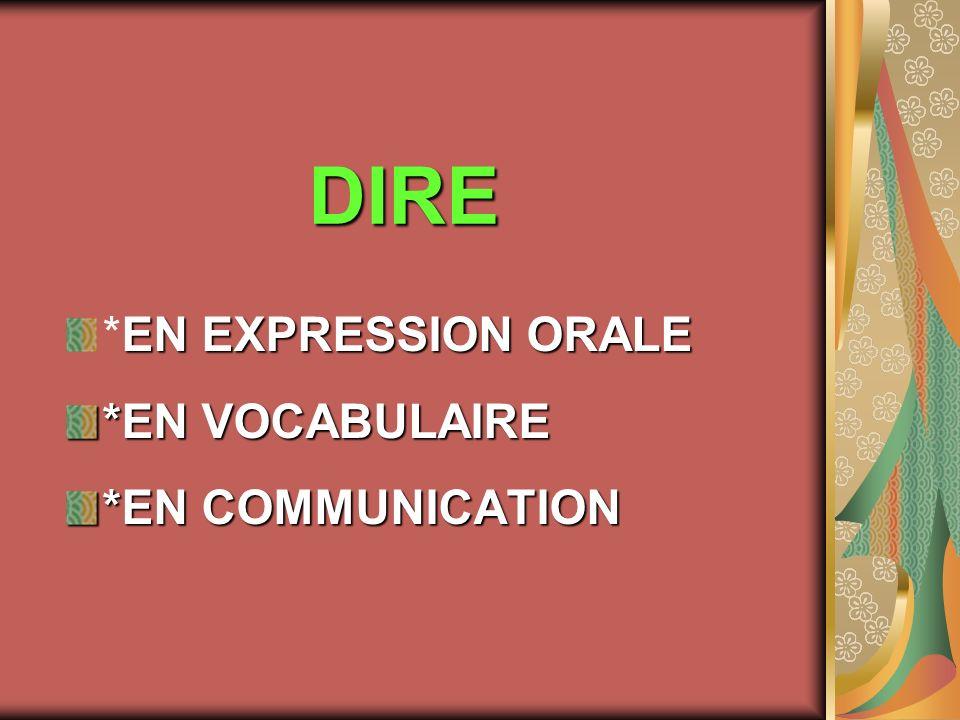 EN EXPRESSION ORALE *EN EXPRESSION ORALE *EN VOCABULAIRE *EN COMMUNICATION DIRE