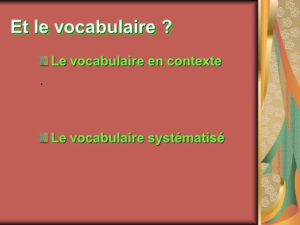 Et le vocabulaire ? Le vocabulaire en contexte. Le vocabulaire systématisé