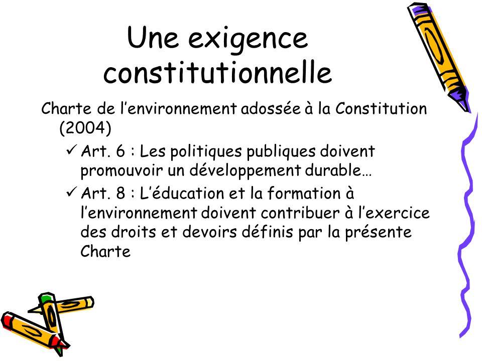Une exigence constitutionnelle Charte de lenvironnement adossée à la Constitution (2004) Art. 6 : Les politiques publiques doivent promouvoir un dével