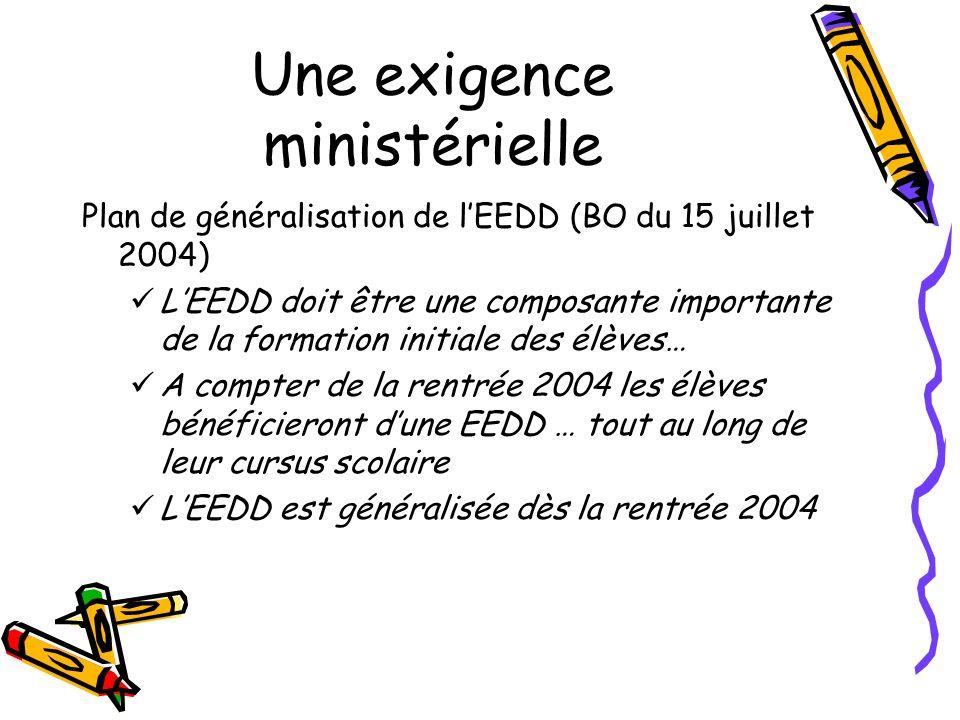 Une exigence ministérielle Plan de généralisation de lEEDD (BO du 15 juillet 2004) LEEDD doit être une composante importante de la formation initiale