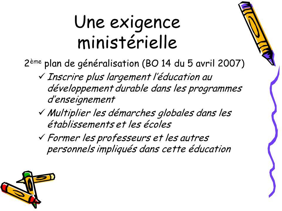 Une exigence ministérielle 2 ème plan de généralisation (BO 14 du 5 avril 2007) Inscrire plus largement léducation au développement durable dans les p