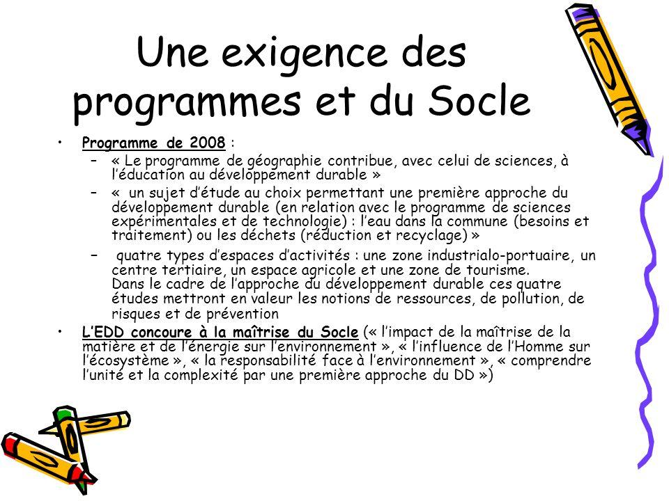 Une exigence des programmes et du Socle Programme de 2008 : –« Le programme de géographie contribue, avec celui de sciences, à léducation au développe