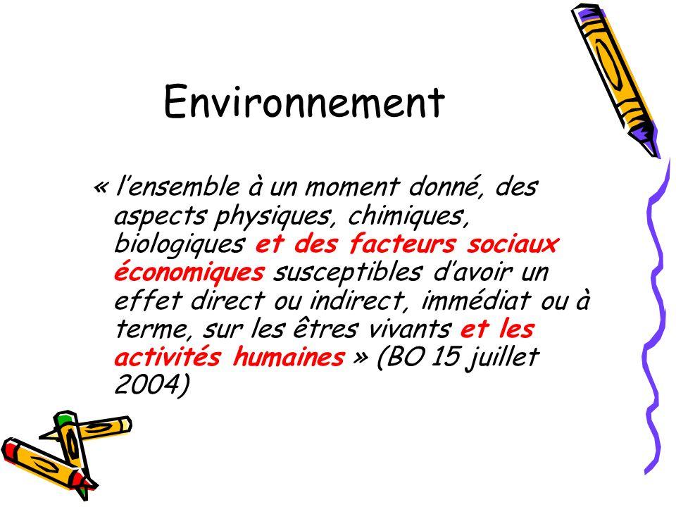 Environnement « lensemble à un moment donné, des aspects physiques, chimiques, biologiques et des facteurs sociaux économiques susceptibles davoir un