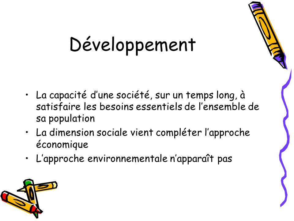 Le développement durable « un développement qui répond aux besoins du présent sans compromettre la capacité des générations futures de répondre aux leurs » Rapport Brundtland – 1987, cité par le BO du 15 juillet 2004