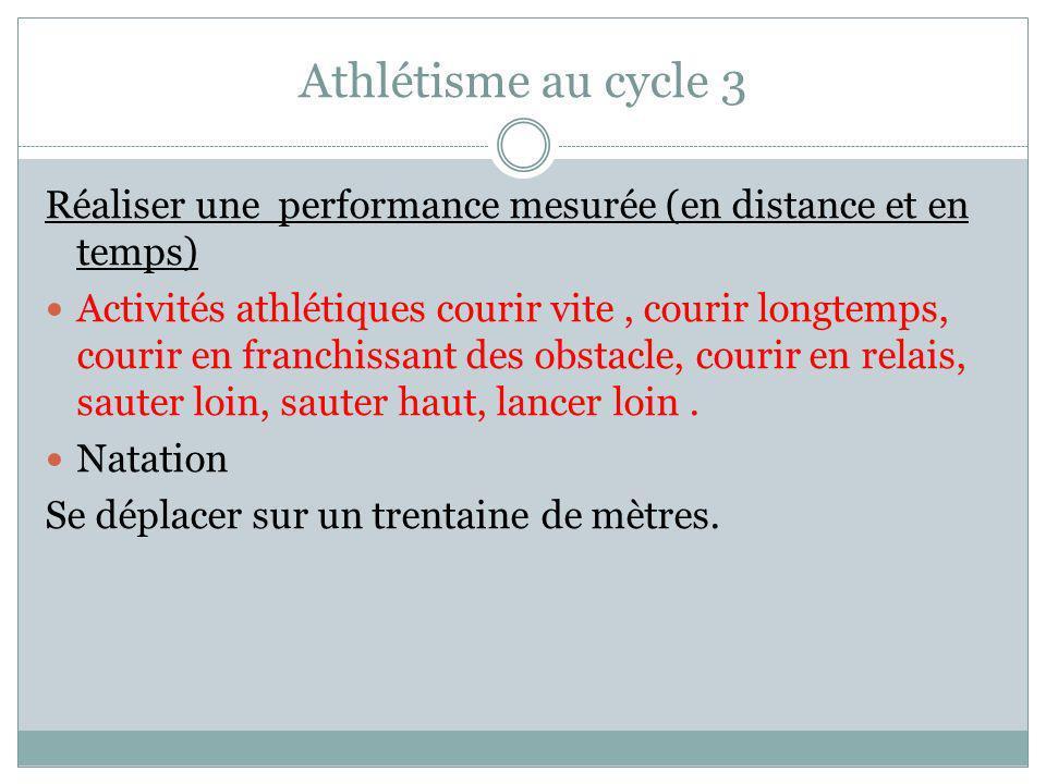 Athlétisme au cycle 3 Réaliser une performance mesurée (en distance et en temps) Activités athlétiques courir vite, courir longtemps, courir en franchissant des obstacle, courir en relais, sauter loin, sauter haut, lancer loin.