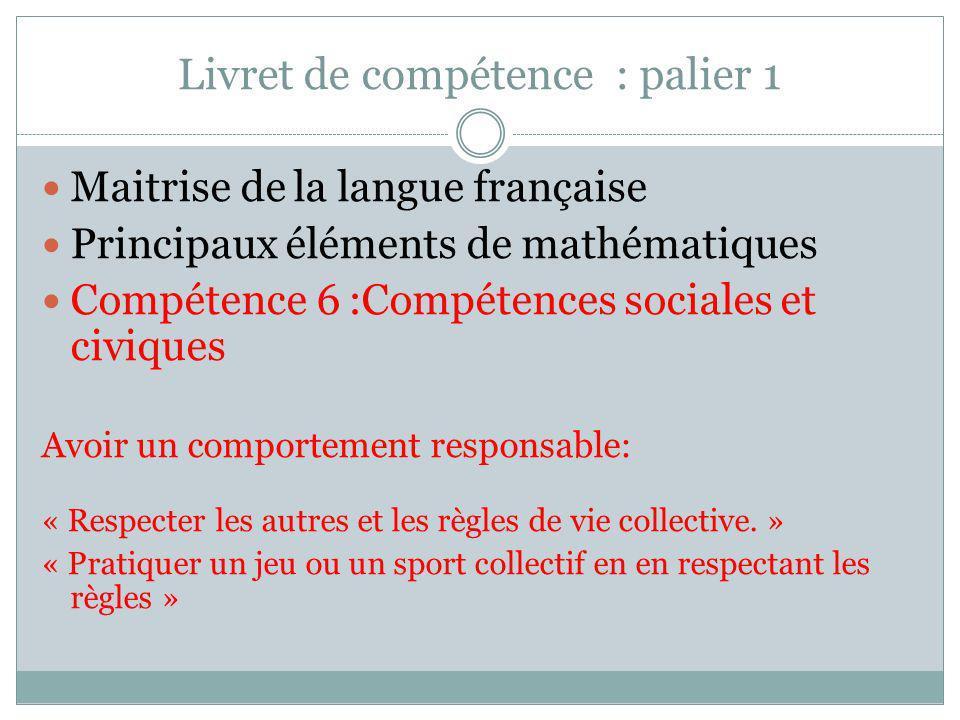 Livret de compétence : palier 1 Maitrise de la langue française Principaux éléments de mathématiques Compétence 6 :Compétences sociales et civiques Av