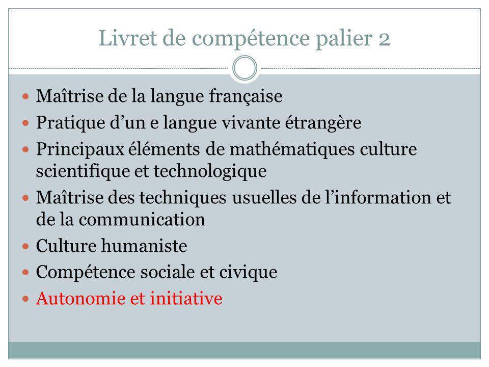 Livret de compétence palier 2 Maîtrise de la langue française Pratique dun e langue vivante étrangère Principaux éléments de mathématiques culture sci
