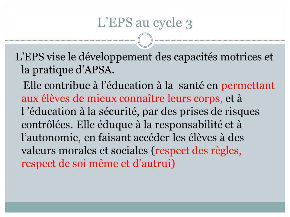 LEPS au cycle 3 LEPS vise le développement des capacités motrices et la pratique dAPSA. Elle contribue à léducation à la santé en permettant aux élève