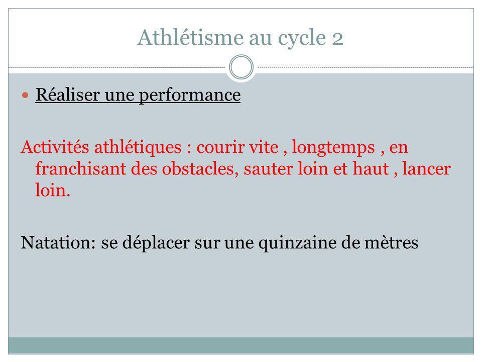 Athlétisme au cycle 2 Réaliser une performance Activités athlétiques : courir vite, longtemps, en franchisant des obstacles, sauter loin et haut, lancer loin.