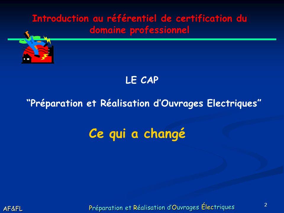 2 Introduction au référentiel de certification du domaine professionnel LE CAP Préparation et Réalisation dOuvrages Electriques Ce qui a changé AF&FL Préparation et Réalisation dOuvrages Électriques