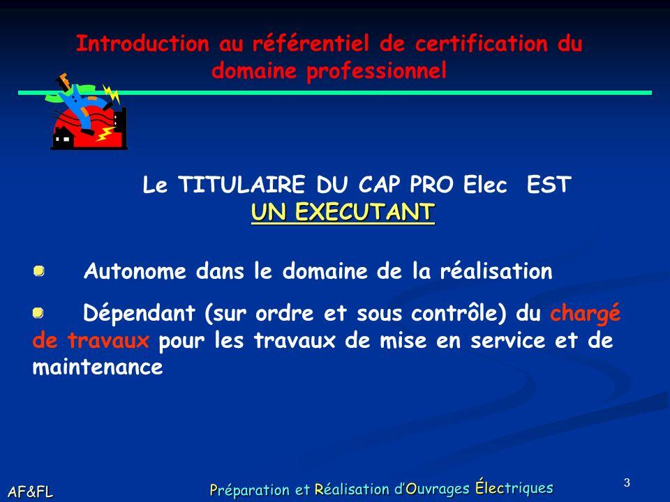 2 Introduction au référentiel de certification du domaine professionnel LE CAP Préparation et Réalisation dOuvrages Electriques Ce qui a changé AF&FL