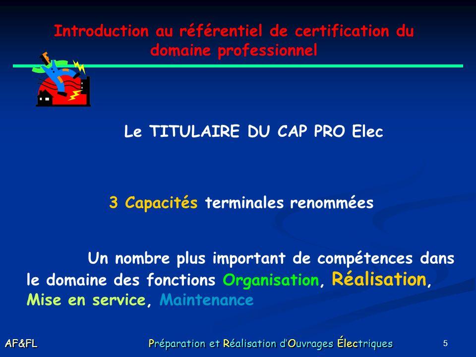 5 Introduction au référentiel de certification du domaine professionnel Le TITULAIRE DU CAP PRO Elec 3 Capacités terminales renommées Un nombre plus important de compétences dans le domaine des fonctions Organisation, Réalisation, Mise en service, Maintenance AF&FL Préparation et Réalisation dOuvrages Électriques