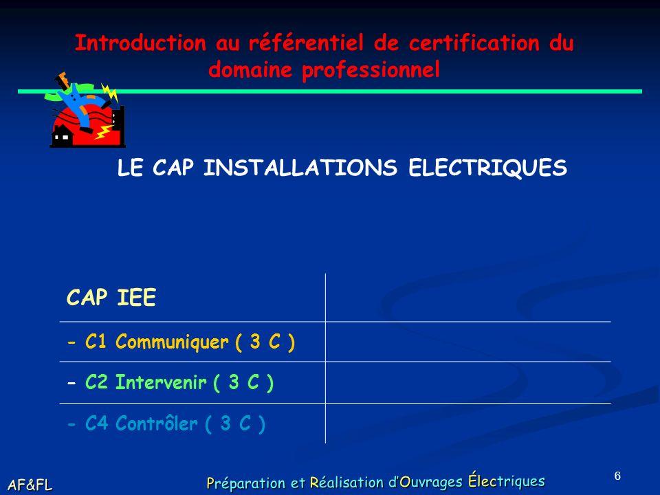 6 Introduction au référentiel de certification du domaine professionnel LE CAP INSTALLATIONS ELECTRIQUES CAP IEE - C1 Communiquer ( 3 C ) - C2 Intervenir ( 3 C ) - C4 Contrôler ( 3 C ) AF&FL Préparation et Réalisation dOuvrages Électriques