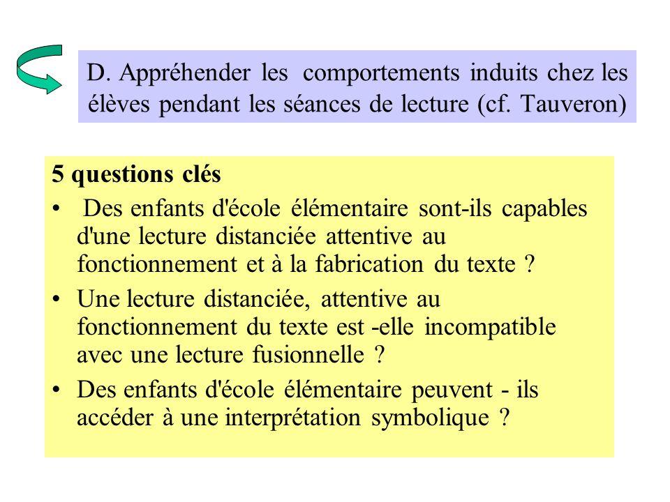 D. Appréhender les comportements induits chez les élèves pendant les séances de lecture (cf. Tauveron) 5 questions clés Des enfants d'école élémentair