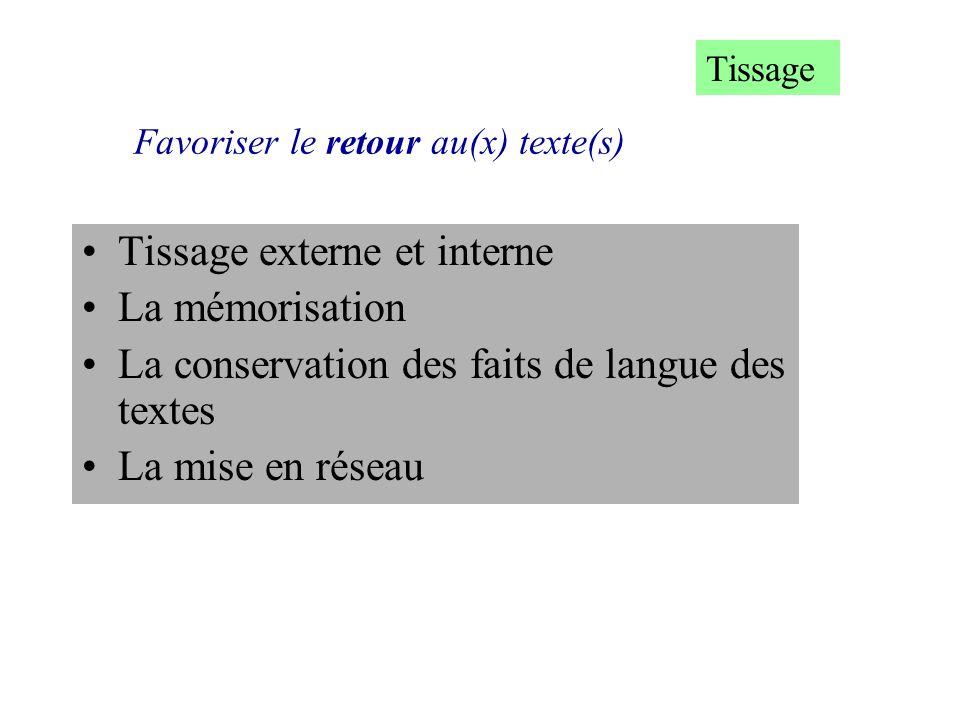 Favoriser le retour au(x) texte(s) Tissage externe et interne La mémorisation La conservation des faits de langue des textes La mise en réseau Tissage