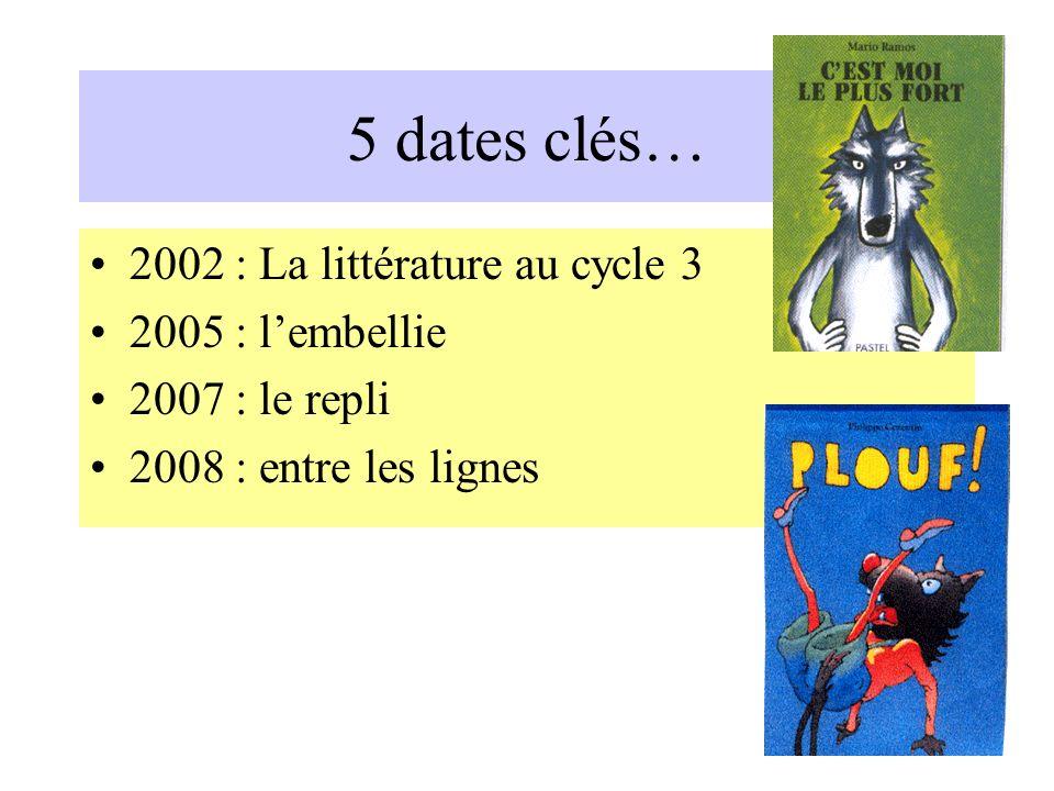 5 dates clés… 2002 : La littérature au cycle 3 2005 : lembellie 2007 : le repli 2008 : entre les lignes