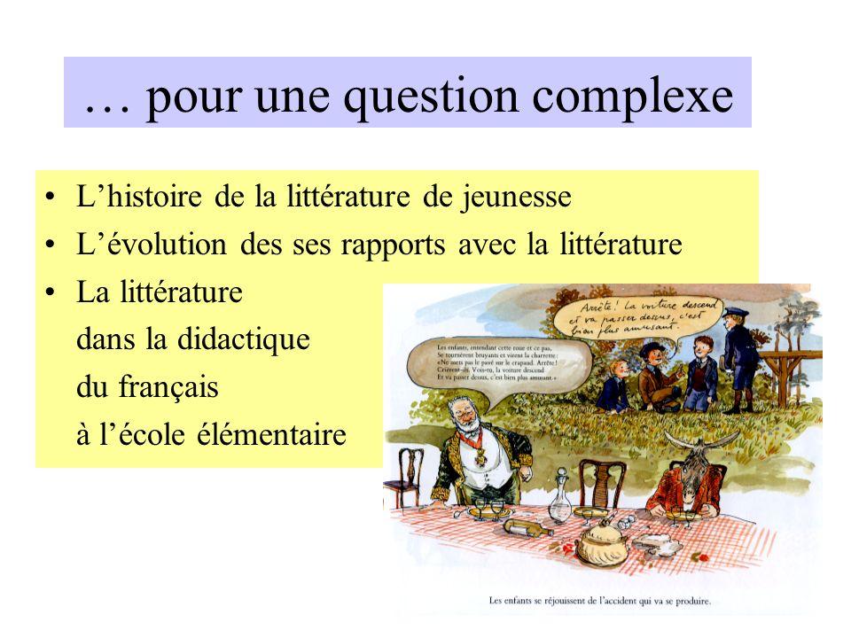 … pour une question complexe Lhistoire de la littérature de jeunesse Lévolution des ses rapports avec la littérature La littérature dans la didactique