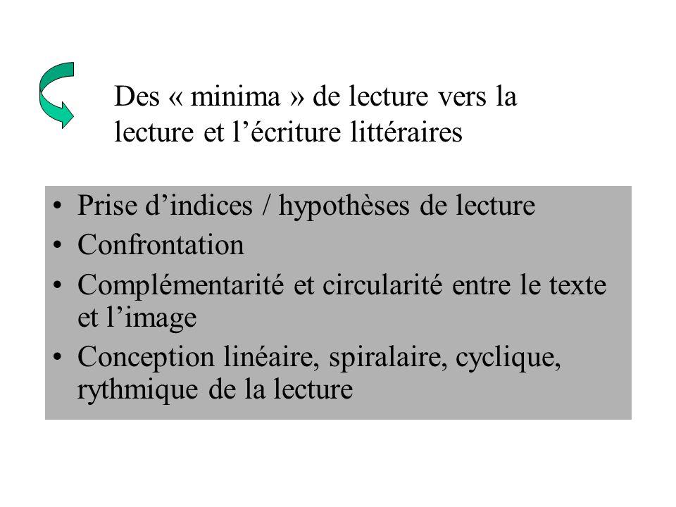 Prise dindices / hypothèses de lecture Confrontation Complémentarité et circularité entre le texte et limage Conception linéaire, spiralaire, cyclique