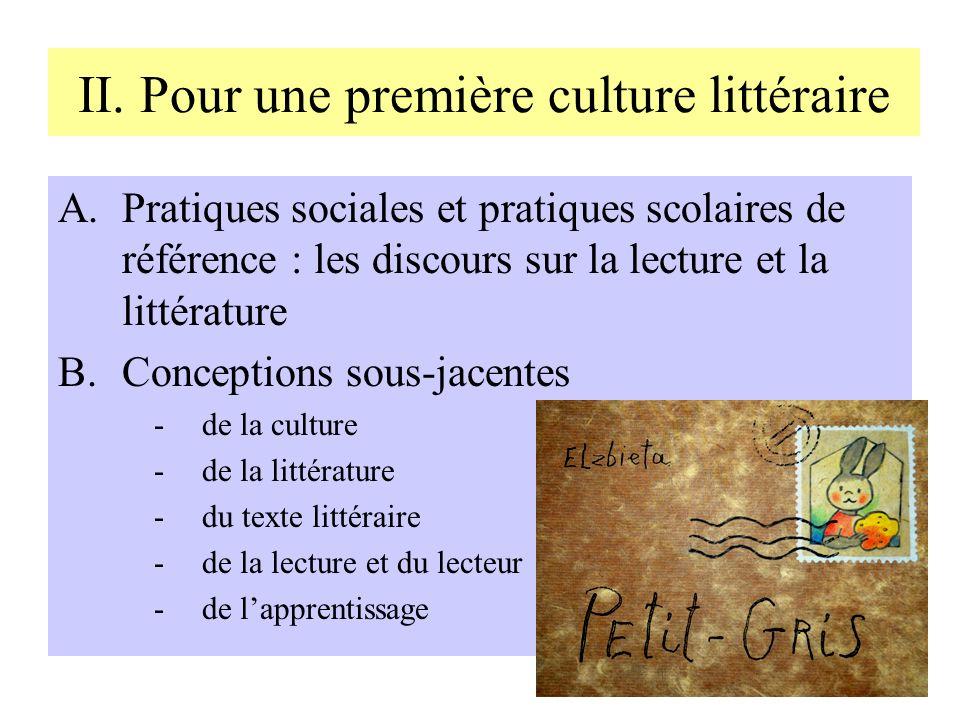 II. Pour une première culture littéraire A.Pratiques sociales et pratiques scolaires de référence : les discours sur la lecture et la littérature B.Co